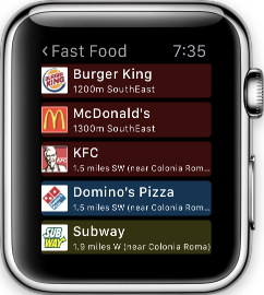 Poison Maps: The Ultimate POI Watch App-watch_results_fastfood_small.png