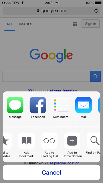 "How do I use the ""Save to Homepage"" functionality on iPhone 6s?-2016-03-14-14.08.30.png"