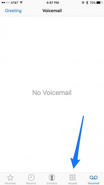 When I press the phone icon all I get is my voicemail screen. How do I get the dial pad screen?-img_0032.jpg