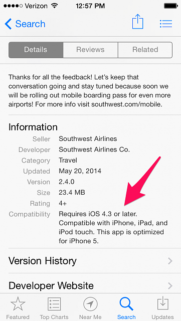 Question regarding apps that only require iOS 4.3... e.g. Southwest-skitch.png