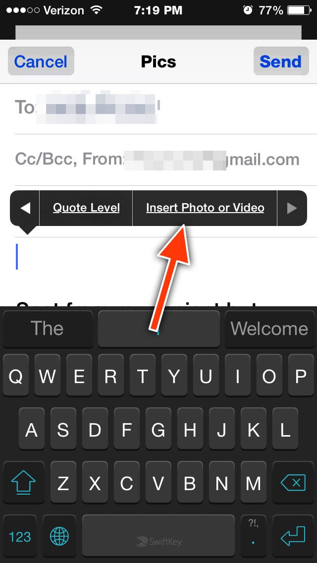 how to send pictures as attachment to email iphone