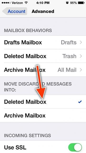 How do you get the delete option in the iPhone Mail app when you swipe left?-imageuploadedbytapatalk1421187203.839629.jpg