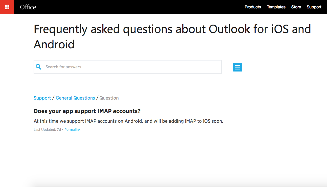 Rene Ritchie said the new outlook app works with all iMap
