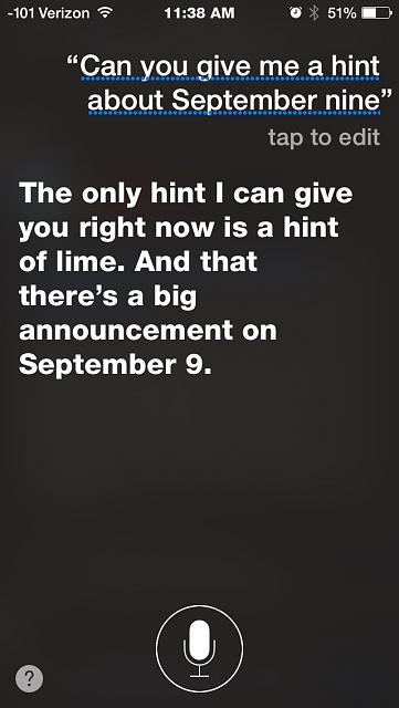 Siri teasing us after official Sept. 9th announcement today...-imageuploadedbytapatalk1440779963.855215.jpg