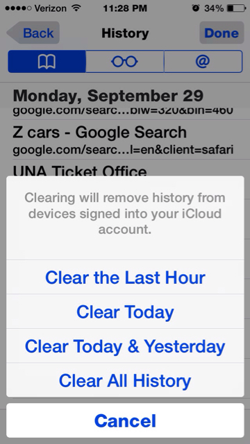 How to clear browsing history on safari