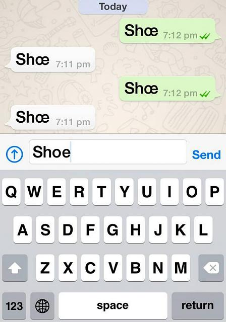 Bold text mash up in WhatsApp on iOS 7.1.1-shoe.jpg