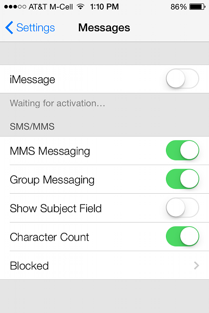 iphone imessage not working imessage waiting for activation ios7 rachael edwards 15305