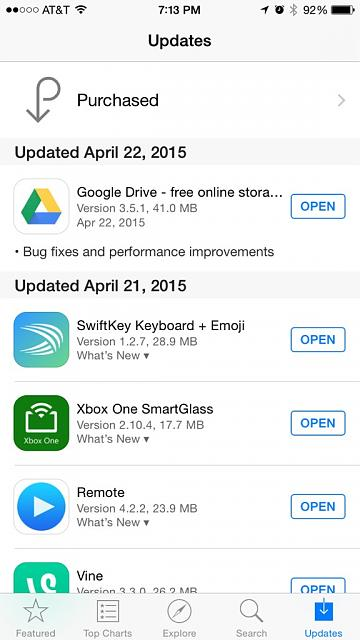 App store showing update. None to be found-imoreappimg_20150422_191359.jpg