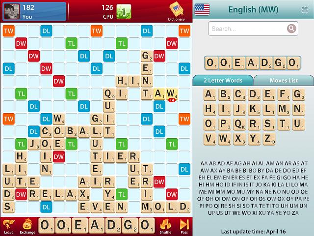 how to change dictionaries for pc scrabble game
