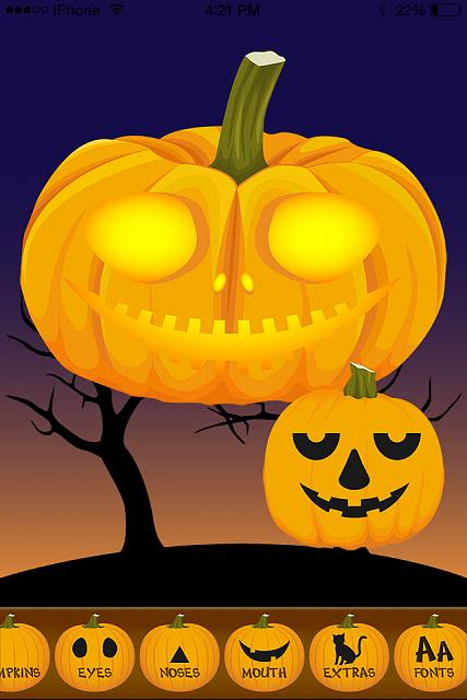 Halloween Ecard Greetings - Jack O' Lantern Pumpkin Maker - FREE for iPad & iPhone Avail Now-pumpkin-screen2-app-640.jpg