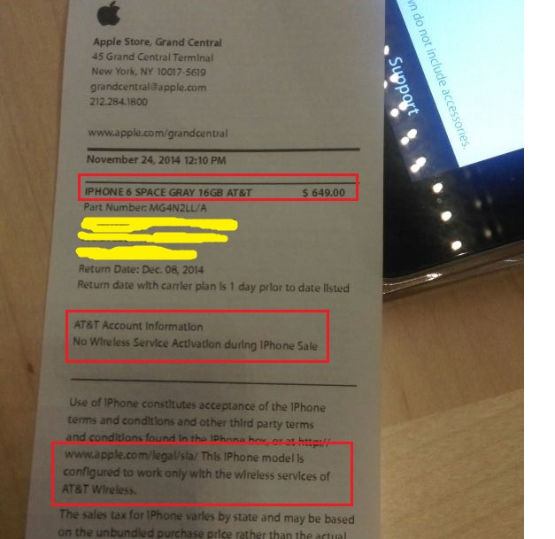 HELP Unlocked Iphone From Apple Store But Invoice Says It Is ATT - Apple iphone invoice