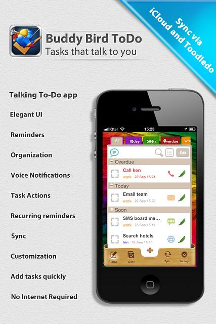 new app Buddy Bird ToDo - First talking todo app for iPhone now in appstore (App Store)-1.jpg