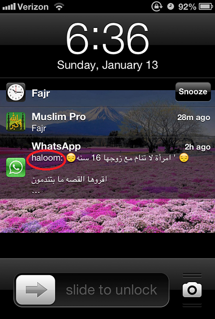 What is the name that appears next to a WhatsApp notification-whatsapp.png