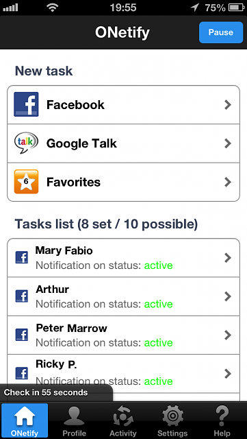 ONetify for iPhone - check the status of your Facebook & Google+ friends [PROMO CODES]-ip5_onetify.png