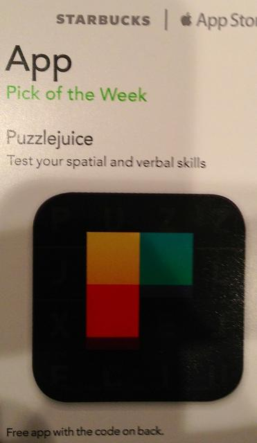 PuzzleJuice promo codes courtesy of Starbucks App of the Week-imageuploadedbytapatalk1370132964.855295.jpg