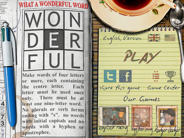 New Word Game for iOS-wonderful_menu.png