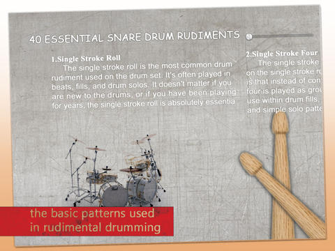 40 Essential Snare Drum Rudiments - IPhone, IPad, IPod ...