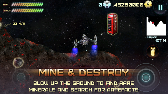 Demolition Lander for iPhone & iPad - an awesome tribute to classic Atari space arcade Lunar Lander-mine-destroy-iphone5.png