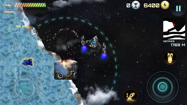 Demolition Lander for iPhone & iPad - an awesome tribute to classic Atari space arcade Lunar Lander-screen-iphone5.png