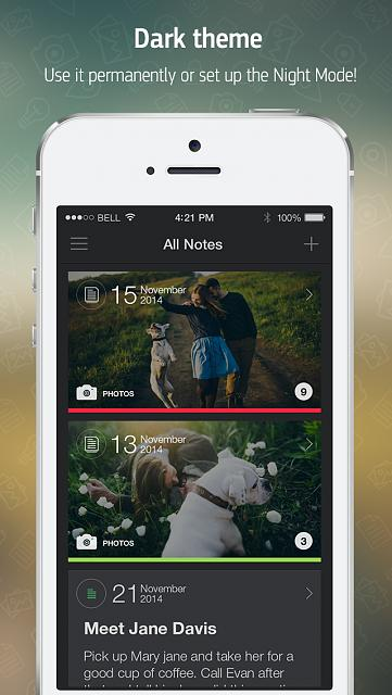 Menote - Notes, Diary [FREE APP]-app-store-template-night-mode-2.jpg