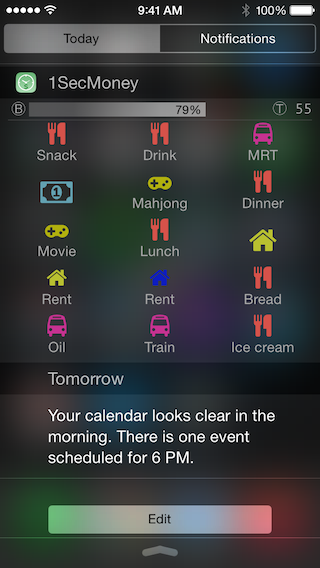 1SecMoney - the first iOS app allow recording expenses/incomes on the notification center-widget_icon.png