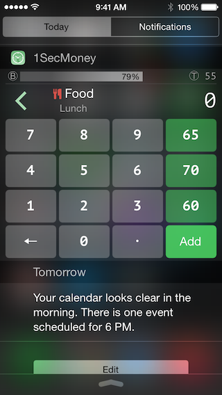 1SecMoney - the first iOS app allow recording expenses/incomes on the notification center-widget_num.png