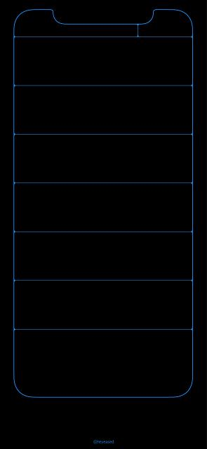 Iphone X Blue Outline Wallpaper