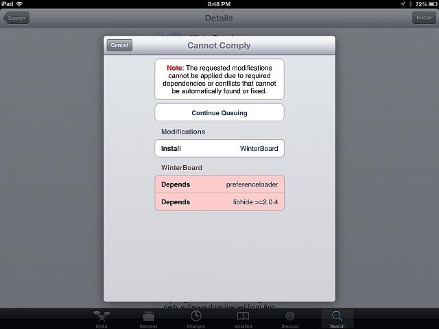 Errors from Cydia:  Cannot comply, Cannot Locate Package, etc...-image.jpg