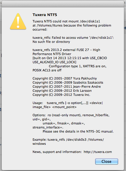tuxera ntfs could not mount dev disk1s1