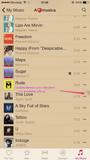 In iPhone music song lists, how can I identify they're available offline? What do the icons mean?-offline_av.jpg
