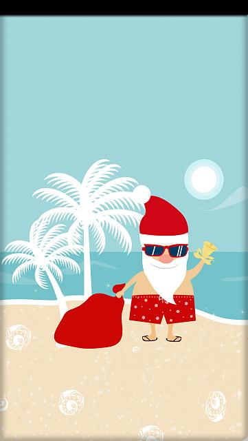 Winter Holiday iPhone Wallpapers-i5_ibabygirl_beach-santa.jpg